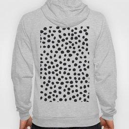Hand Drawn Polka Dots, Spots Black &  White Hoody