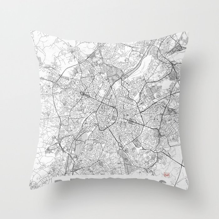 Brussels Map Line Throw Pillow