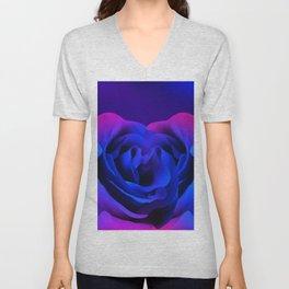 Blue Neon Rose Unisex V-Neck