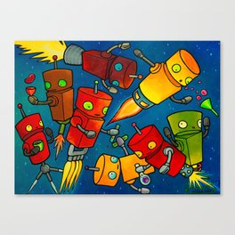 Robot - Robot Party 2 (Zero Gravity) Canvas Print