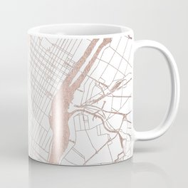 New York City White on Rosegold Street Map Coffee Mug
