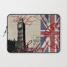 London Great Britain Big Ben Flag Collage Laptop Sleeve