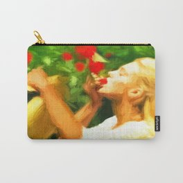 Lady eating wild strawberries Carry-All Pouch