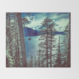Crater Lake Vintage Summer Throw Blanket