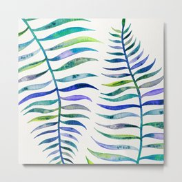 Indigo Palm Leaf Metal Print