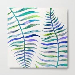 Indigo Palm Leaf Metal Print
