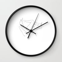 erotic Wall Clocks featuring Erotic Lines One by Holden Matarazzo