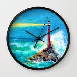 Lighthouse Abstract Painting Wall Clock