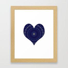 Mandala Heart in blue Framed Art Print