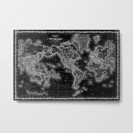 Black and White World Map (1860) Inverse Metal Print