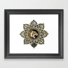 Black and Gold Roaring Tiger Mandala With 8 Cat Eyes Framed Art Print