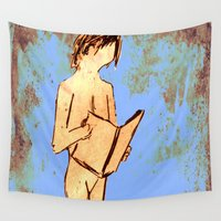 study Wall Tapestries featuring Nude Study For Bookworms  by James Peart