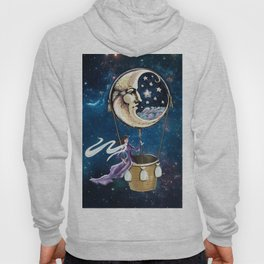 Vintage hot air ballon in a starry galaxy night sky Hoody