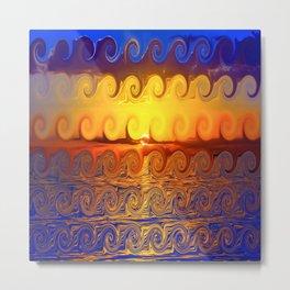 The Surfer Scream- Abstract Ocean Sunset Metal Print