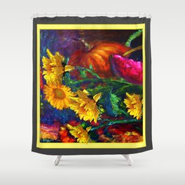 Sunflowers & fruit Fall Still Life Painting Shower Curtain