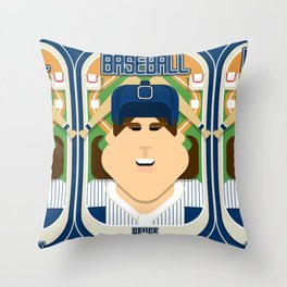 Baseball Blue Pinstripes - Deuce Crackerjack - June version Throw Pillow