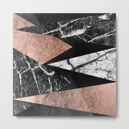 Elegant Modern Marble, Rose Gold, & Black Foil Triangles Metal Print