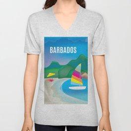 Barbados - Skyline Illustration by Loose Petals Unisex V-Neck