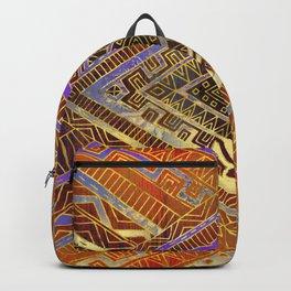 Tribal  Ethnic Boho Pattern burnt orange and gold Backpack