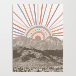 Bohemian Tribal Sun UP / Abstract Vintage Mountain Happy Summer Vibes Retro Colorful Pastel Artwork Poster