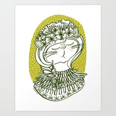 Spring Cat Lady  Art Print