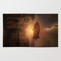 bioshock Area & Throw Rugs featuring A Trip down the Sunset II by Viviana Gonzalez