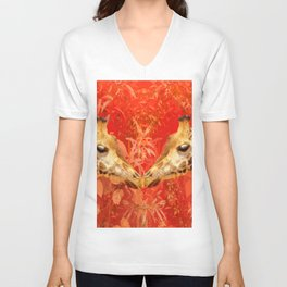 Face to face - beautiful giraffes - love is in the air Unisex V-Neck