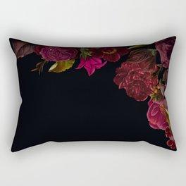 Vintage & Shabby Chic - Antique Dark Roses And Anemones On Black Rectangular Pillow