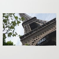 eiffel tower Area & Throw Rugs featuring Eiffel Tower  by Françoise Reina