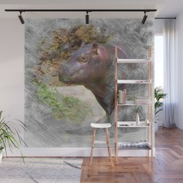 Artistic Animal Hippo Baby Wall Mural