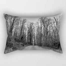 Black and white path in the forest Rectangular Pillow