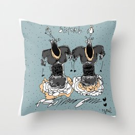 """Sisters"" RJMorgan Throw Pillow"