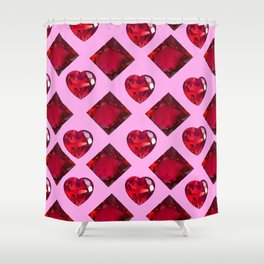 RUBY JEWELED  VALENTINE RUBY HEARTS  DESIGN Shower Curtain