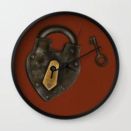 Vintage Padlock and Key on Rust Wall Clock