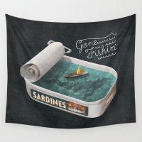 jon snow Wall Tapestries featuring Gone Fishin' by Seaside Spirit