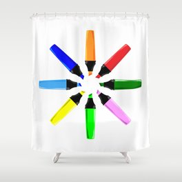 Circle of Highlighter Pens Shower Curtain
