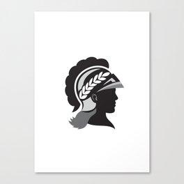 Minerva Head Side Silhouette Retro Canvas Print