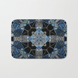 blue symmetric fantasy pattern IV Bath Mat