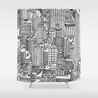 levi Shower Curtains featuring New York View 3 by Michael Levi