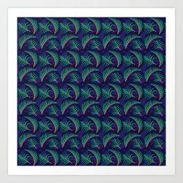 Vibrant Forest Ferns - Navy Art Print