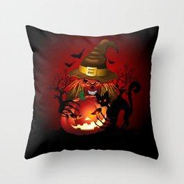 Skull Witch Creepy Halloween Throw Pillow