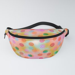 Tie Dye Smiley Face Stamp Print Fanny Pack
