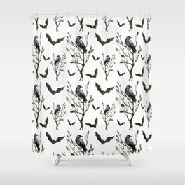 Happy Halloween pattern with hollow trees, ravens and bats Shower Curtain