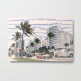 Taxi Miami Beach Florida ArtWork Painting Metal Print