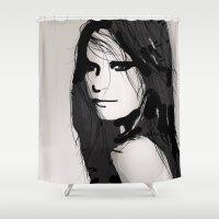 vogue Shower Curtains featuring Face- Vogue by Allison Reich