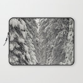 Forest road in snow mountain scenery in winter time Laptop Sleeve