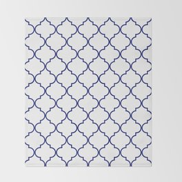quatrefoil - navy Throw Blanket