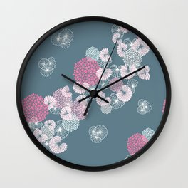 Floral Seamless Pattern on Blue Wall Clock
