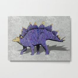 Purple & Gold Stegosaurus Dinosaur on Grey Rock Background Metal Print
