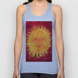 Digital painting of a chubby sun with a funny face Unisex Tank Top